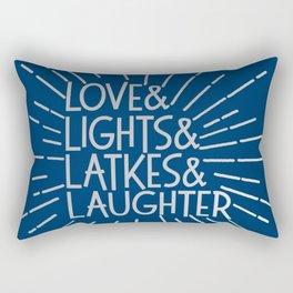 LOVE & LIGHTS & LATKES & LAUGHTER Hanukkah ampersand design blue silver Rectangular Pillow