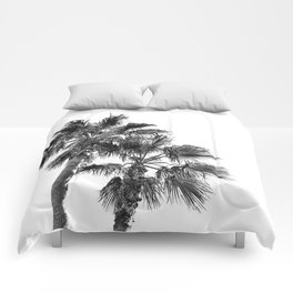 B&W Palm Tree Print | Black and White Summer Sky Beach Surfing Photography Art Comforters