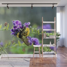 Bee in Purple Duranta Art Photography, Summer's End Wall Mural