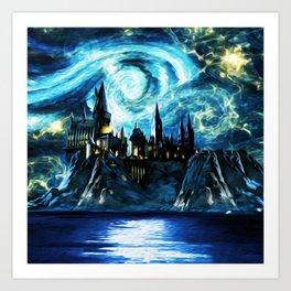 Starry Night Hogwarts Art Print