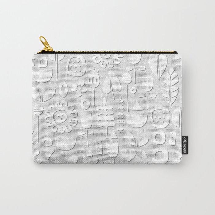 paper cut flowers white silver Carry-All Pouch
