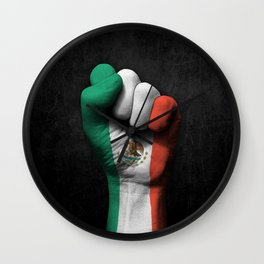 Mexican Flag on a Raised Clenched Fist Wall Clock
