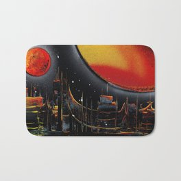 Moonlight Over The Shifting City Bath Mat