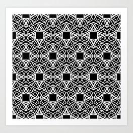 geo lace - white on black Art Print