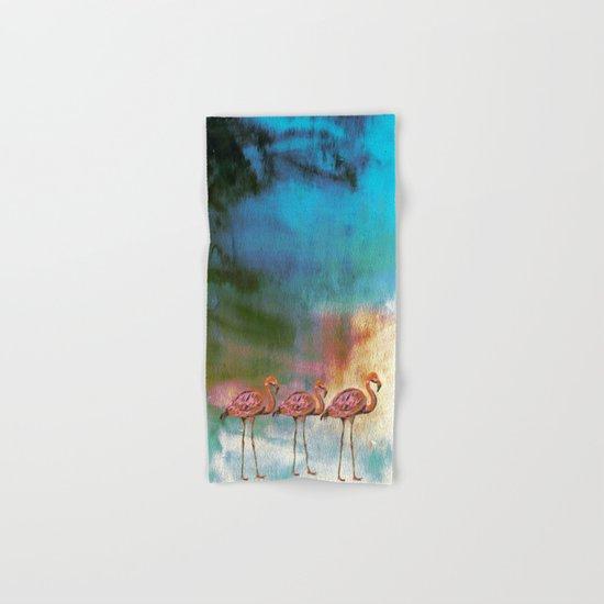 Flamingo Illustration on watercolor - at night Hand & Bath Towel