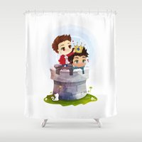 stiles stilinski Shower Curtains featuring Hale Kingdom by siny