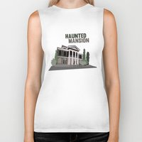 haunted mansion Biker Tanks featuring new Orleans square.. haunted mansion by studiomarshallarts