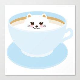 Cute Kawai cat in blue cup Canvas Print