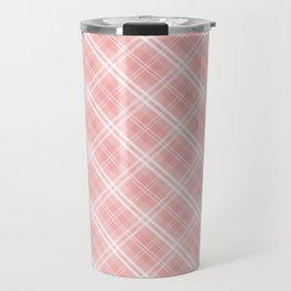 Blush Pink Valentine Sweetheart Tartan Plaid Check Travel Mug