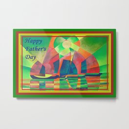Happy Father's Day Sea of Green With Cubist Abstract Junks  Metal Print