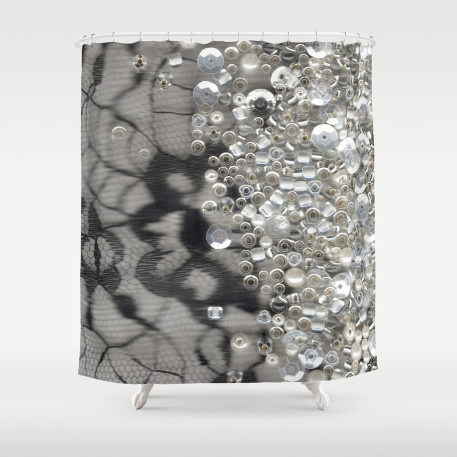 Black Lace And Bling Shower Curtain