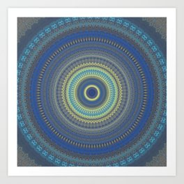 Blue Yellow Boho Mandala Art Print