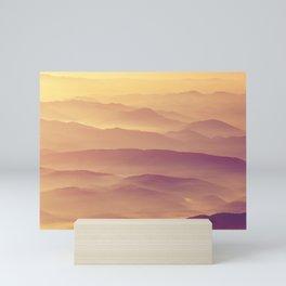 Sunset Rolling Foggy Hills Landscape Photograph Mini Art Print