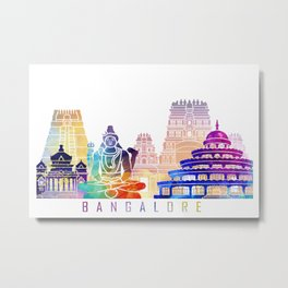 Bangalore skyline landmarks in watercolor Metal Print