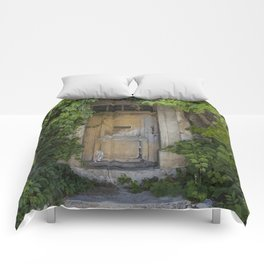 Provence Door covered with green vines Comforters