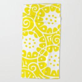 Lemon Swirl Pattern Beach Towel