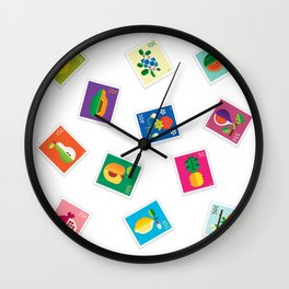 Fruit Stamps 12 Wall Clock