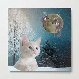 White Cat and Reindeers Metal Print