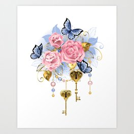 Pink Roses with Keys Art Print