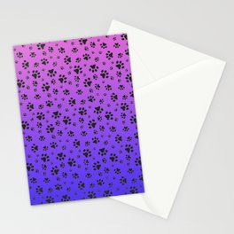 Paw Prints Pink Purple Blue Gradient Stationery Cards