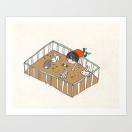feeding the bunnies Art Print