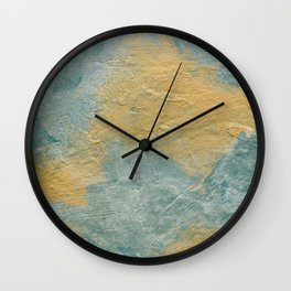 Copper Turquoise Abstract Angel Prayer Painting #01 Wall Clock