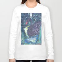 black swan Long Sleeve T-shirts featuring Black Swan by Amber Rose Stahl