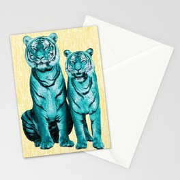 Turquoise blue tigers - Digital Art - Surreal Stationery Cards