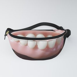 Jaws teeth close up isolated on black background Fanny Pack