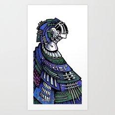 Blue poncho Art Print