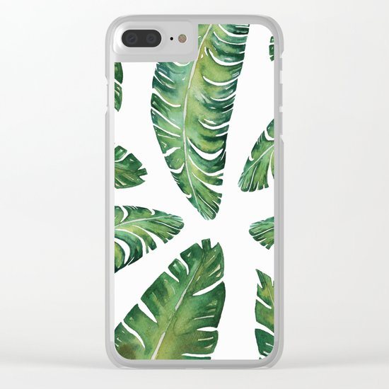 Tropical Banana Leaves #society6 #buyart Clear iPhone Case