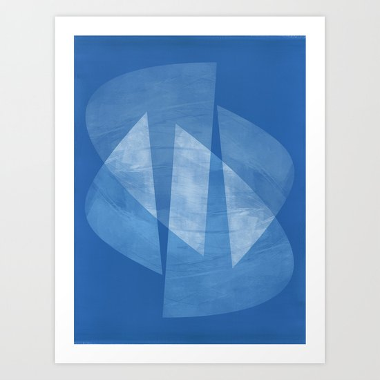 Blue & White Geometric Mid Century Modern Abstract by mininst