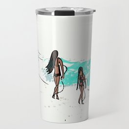 Let's Go Together - Mom and Daughter Surfing Travel Mug