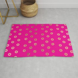 Elegant and Girly Faux Gold Glitter Dots Hot Pink Rug