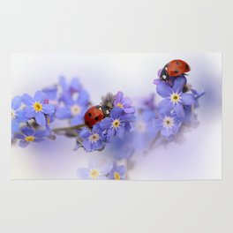Ladybirds on Forget-me-not Rug