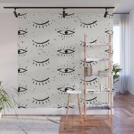 Vintage eyes hand drawn illustration pattern Wall Mural