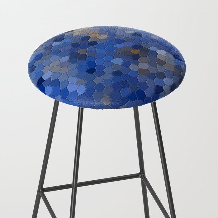 Blue mosaic tile abstract Bar Stool