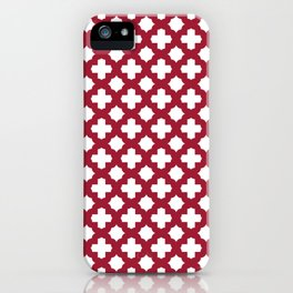 Crimson Red Stars & Crosses Pattern iPhone Case