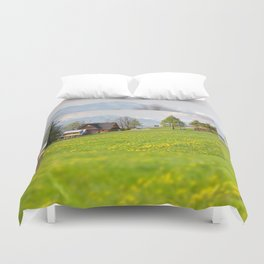 Bucolic spring meadow and house Duvet Cover