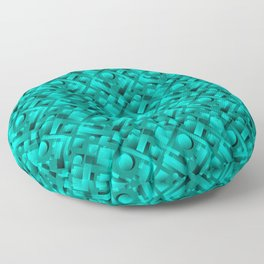 Volumetric design with interlaced circles and light blue rectangles of stripes. Floor Pillow