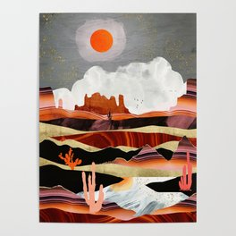 Coral Desert Lake Poster