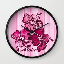 Watercolor Hibiscus Hawaiian Hand-painted Floral Design Wall Clock