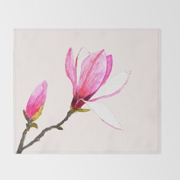 magnolia watercolor painting Throw Blanket