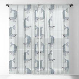 Whimsical Blue Whale Sheer Curtain