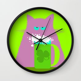 Saint Patrick's Day Lilac Cat Wall Clock