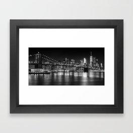 MANHATTAN SKYLINE & BROOKLYN BRIDGE Nightly Impressions | Panoramic Monochrome Framed Art Print
