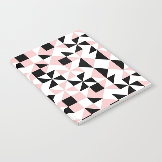Eva - rose quartz quilt squares hipster retro geometric minimal abstract pattern print black pink Notebook