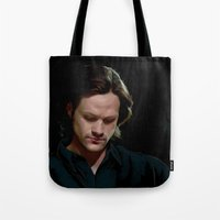 sam winchester Tote Bags featuring Sam Winchester. Season 9 by Armellin