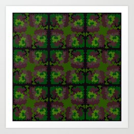 Quilted Camouflage Traditional Art Print