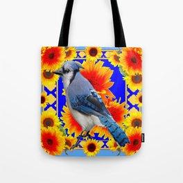 BLUE JAY & GOLDEN SUNFLOWERS WILDLIFE ART Tote Bag